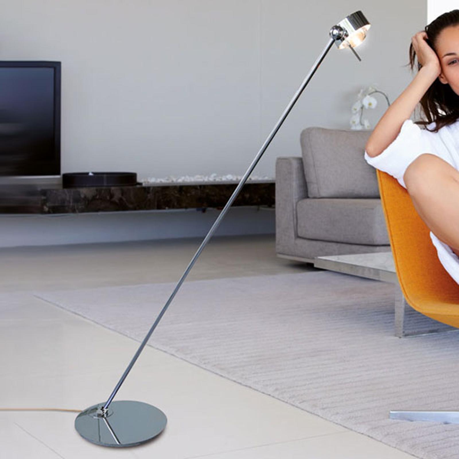 LED-lattiavalo Puk Floor Mini Single, kromi