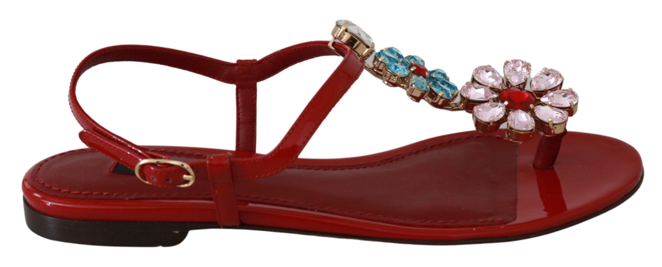 Dolce & Gabbana Women's Leather Crystal Sandals Red LA6486 - EU35/US4.5