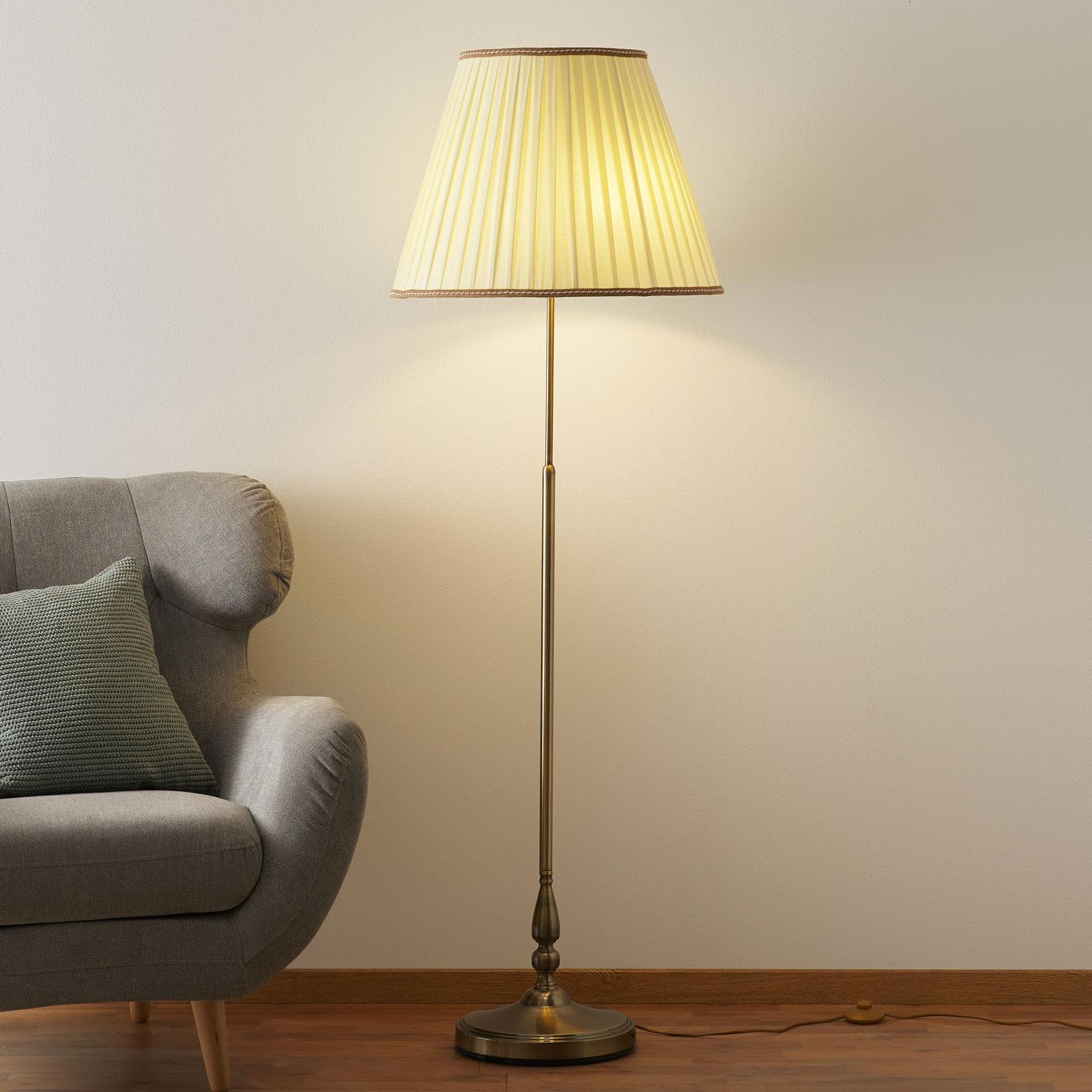 Elegantti ROSELLA-jalkalamppu, laskosvarjostin