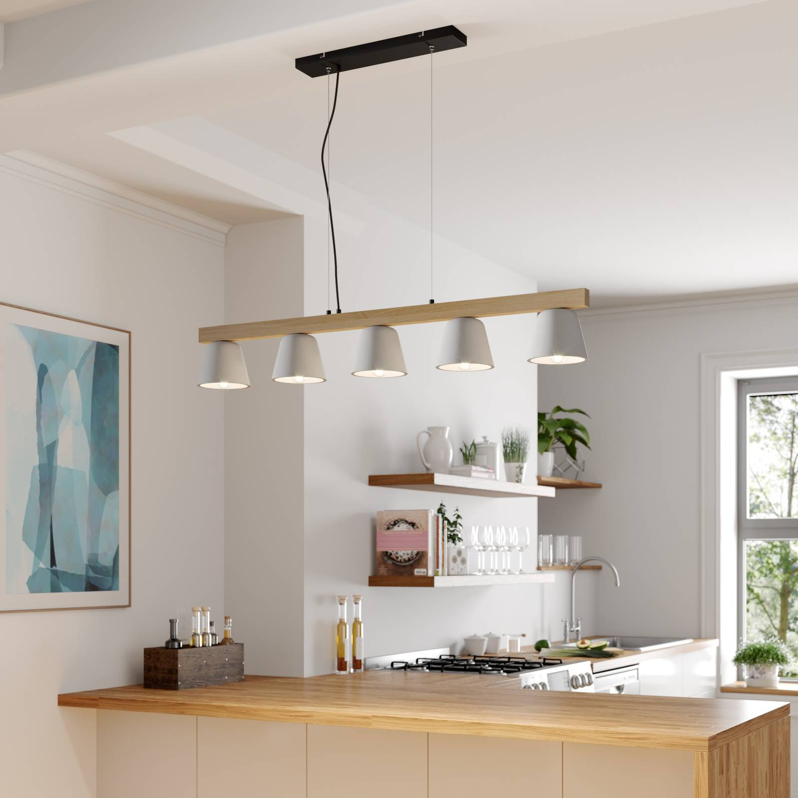 Lucande Kalinda -riippuvalaisin, betoni/puu 5-lamp