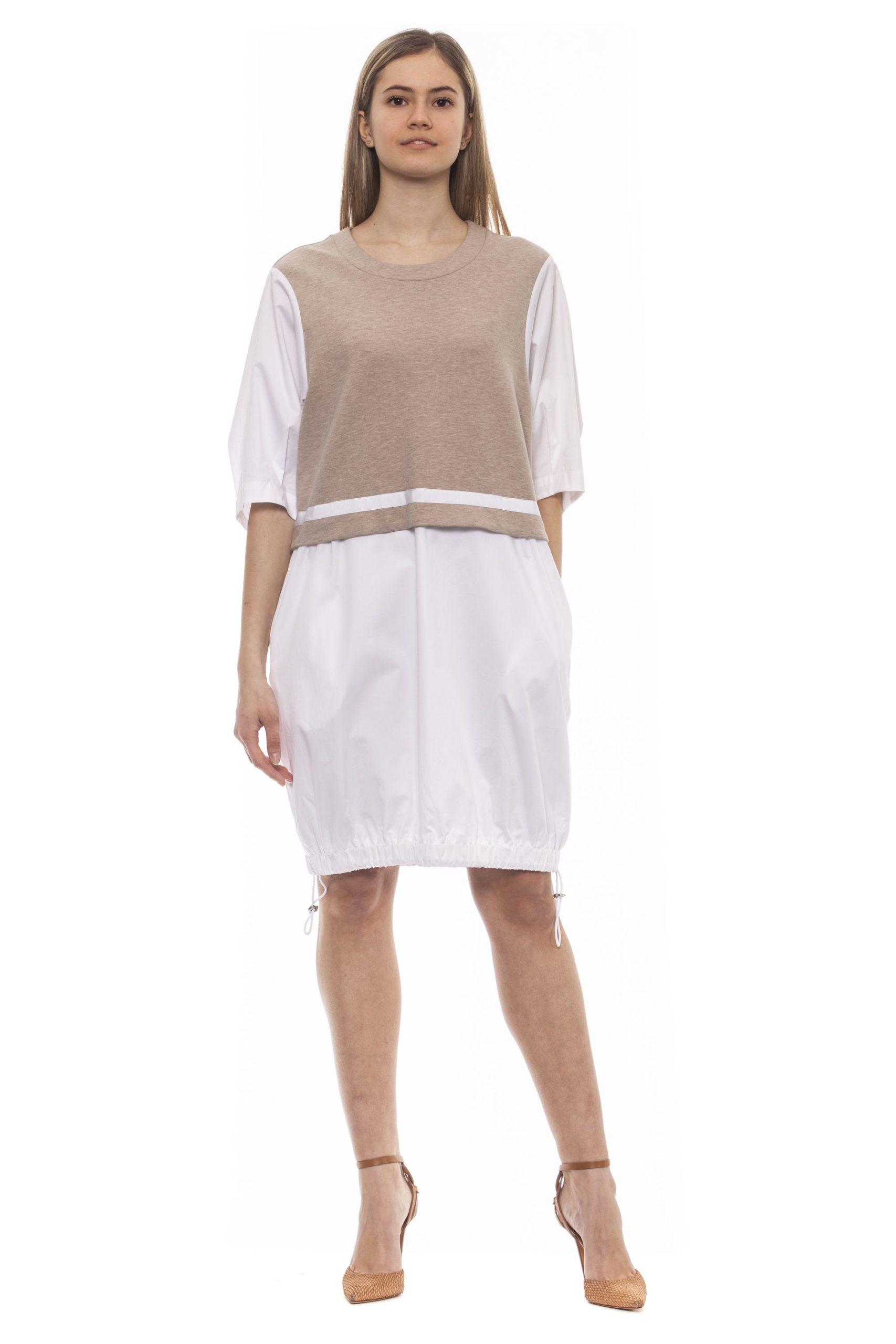 Peserico Women's Bianco Dress Beige PE1383204 - IT42   S