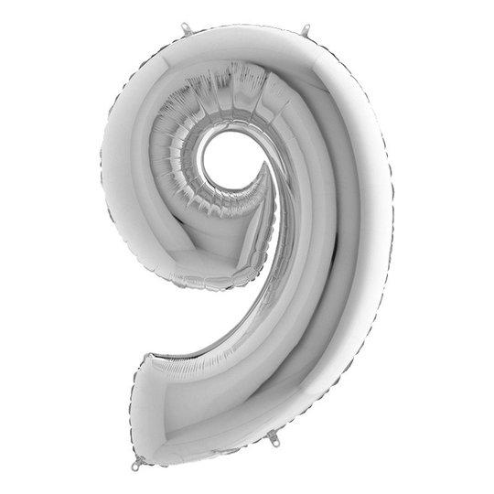 Sifferballong Silver Metallic - Siffra 9