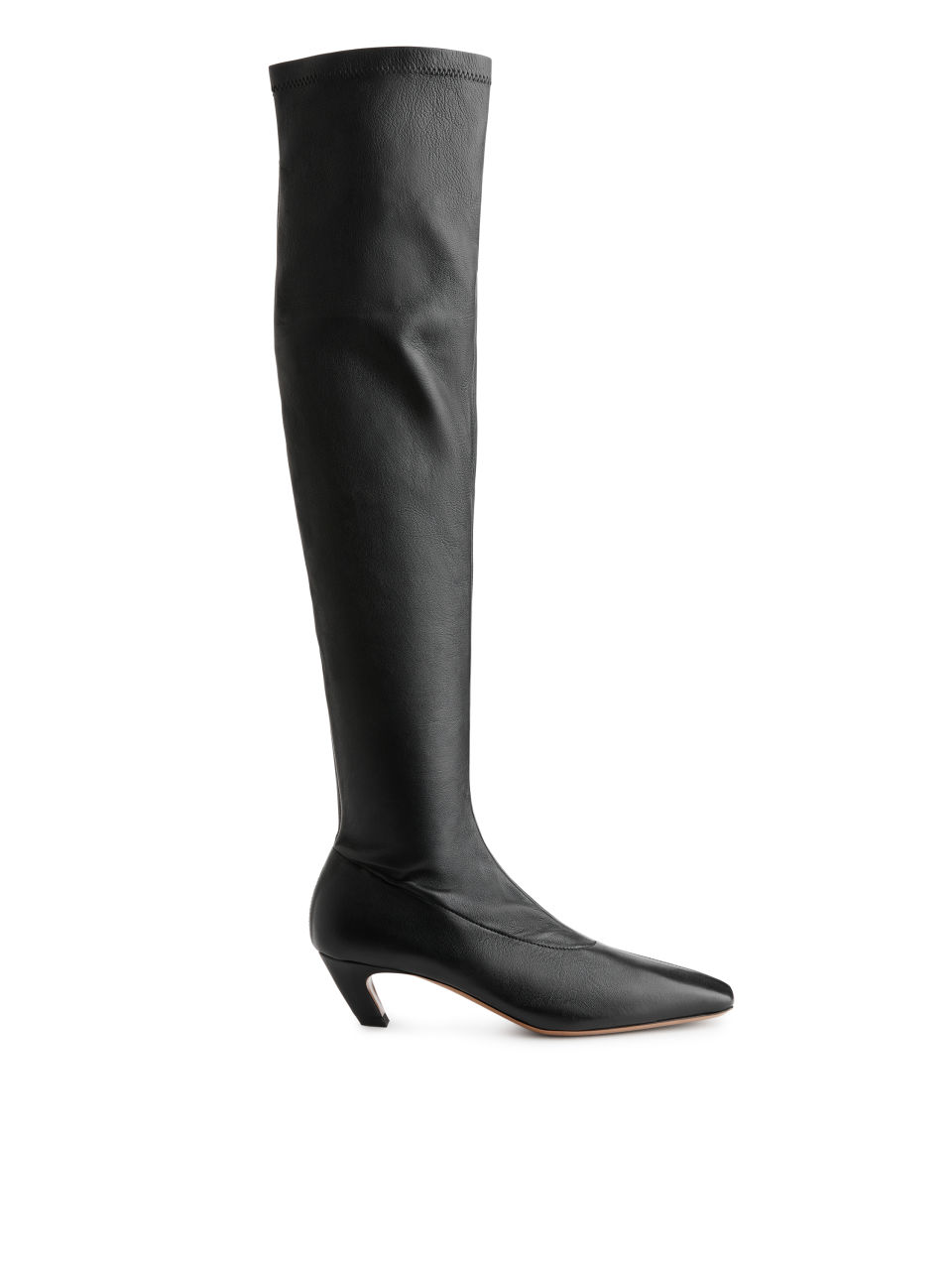 Over-Knee Stretch Leather Boots - Black