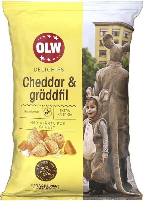 OLW Delichips Cheddar & Gräddfil 150g