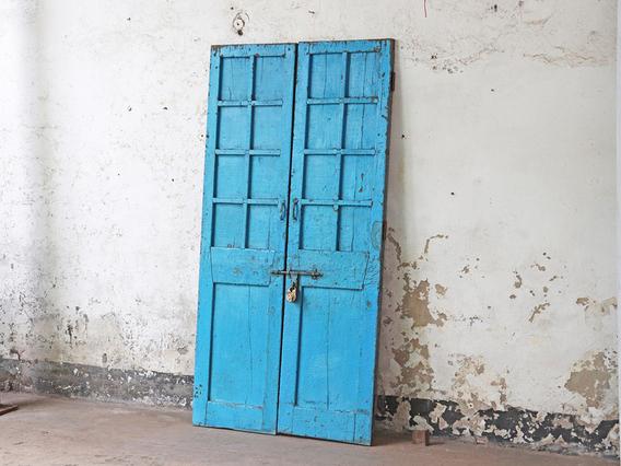 Antique Blue Double Doors Blue