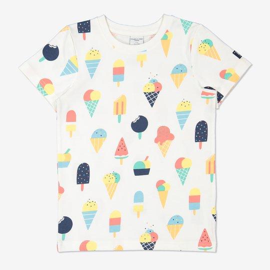 T-skjorte med iskremtrykk hvit