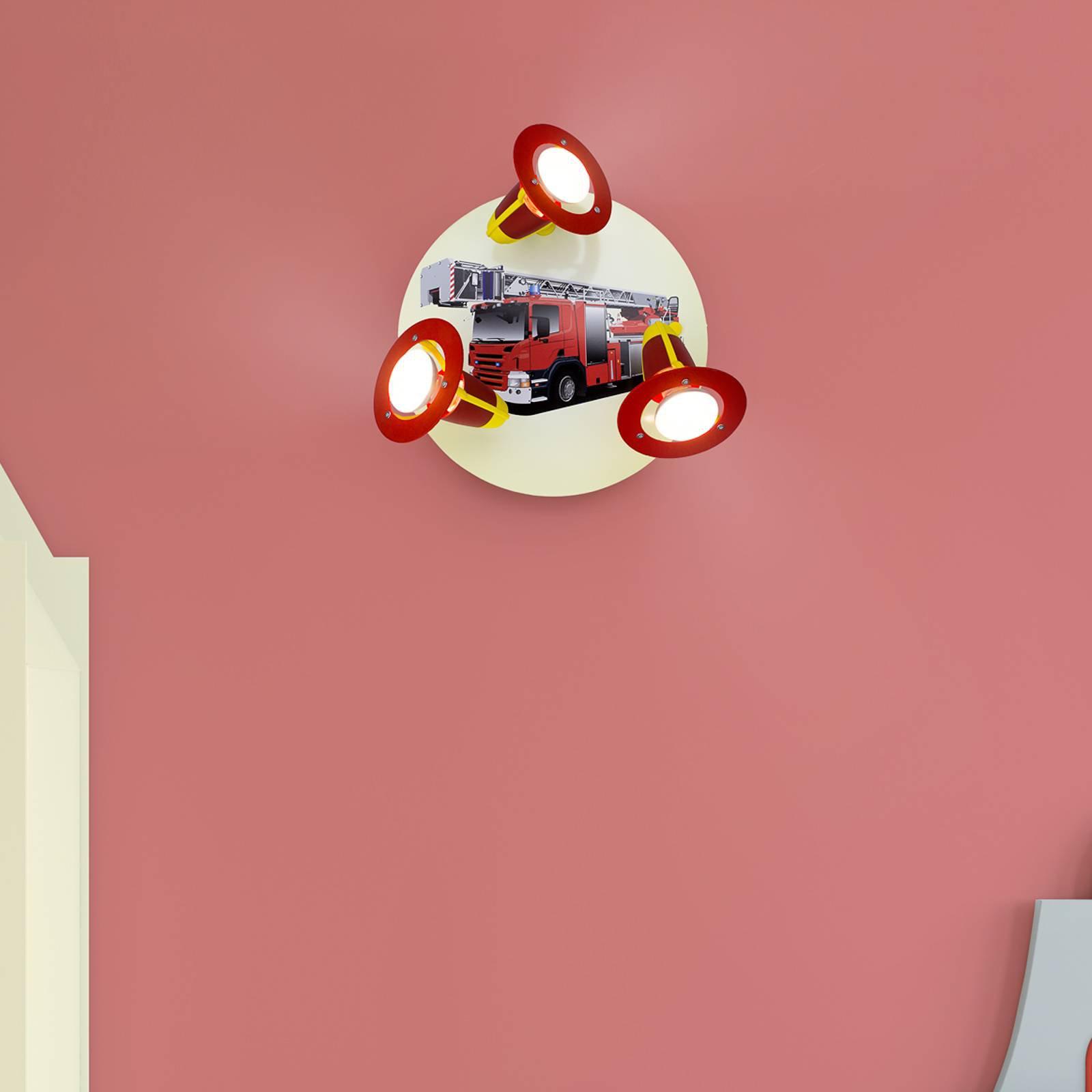 Taklampe Brannbil, rød og gul, 3 lyskilder