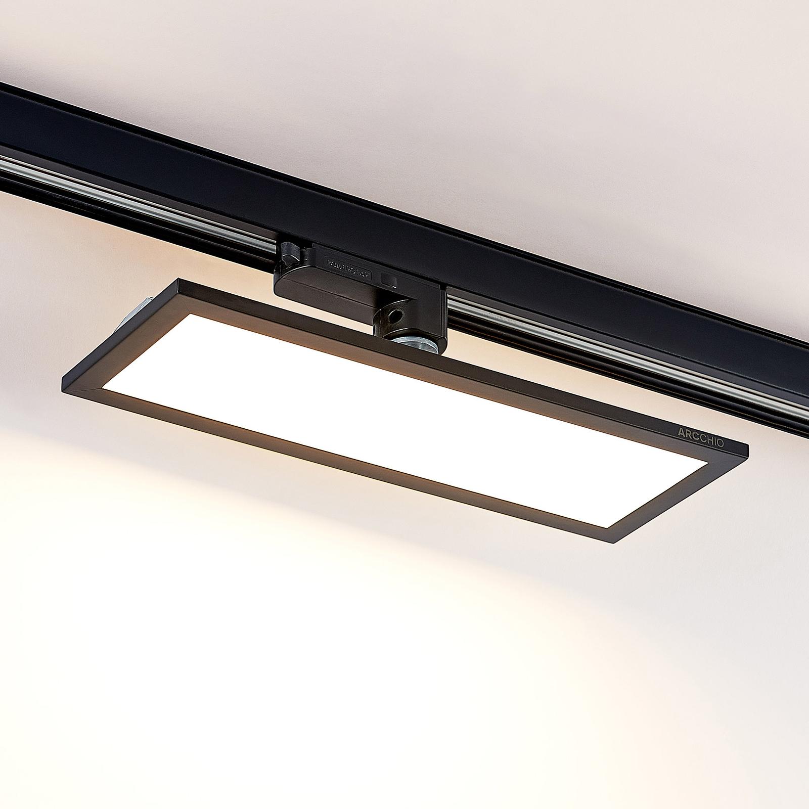 Arcchio Hairis 3-vaihe-LED-paneeli, musta, 3 000 K