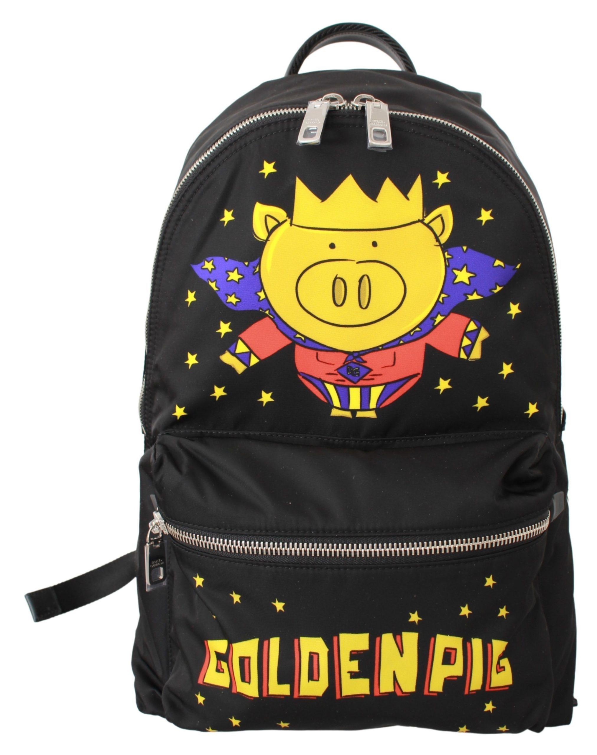 Dolce & Gabbana Men's Golden Pig of the Year School Backpack Black VAS9479