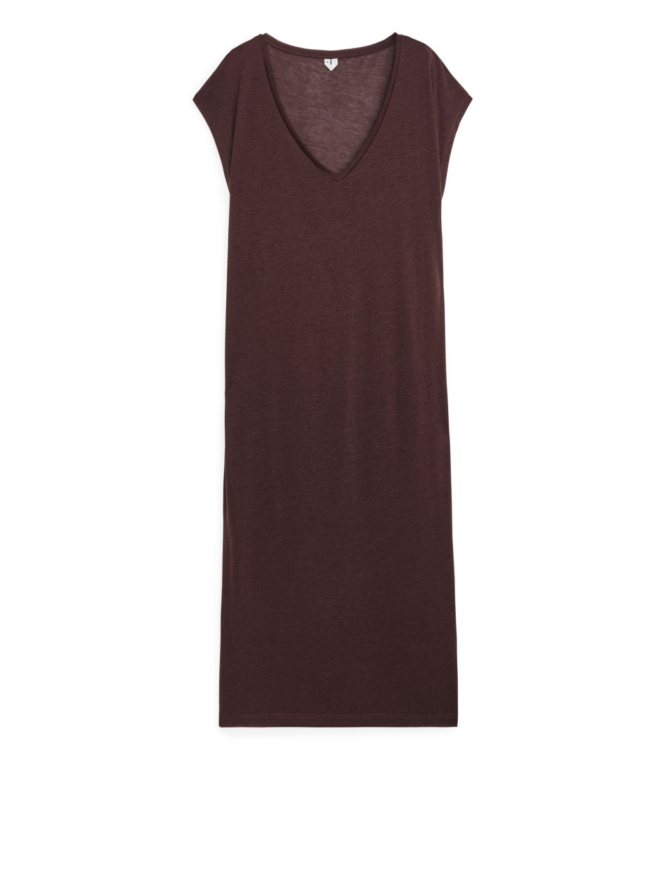 Semi-Sheer T-Shirt Dress - Brown