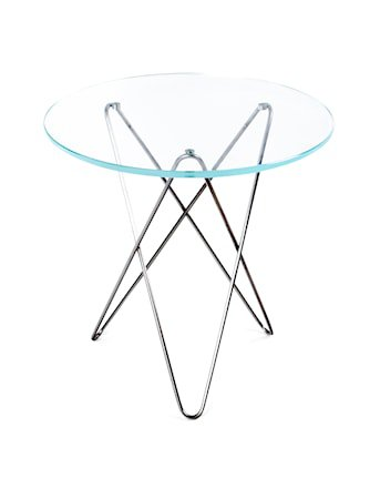 Tall mini o-table glass – Clear/stainless