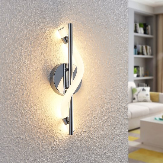 Lucande Curla -LED-seinävalaisin kromia
