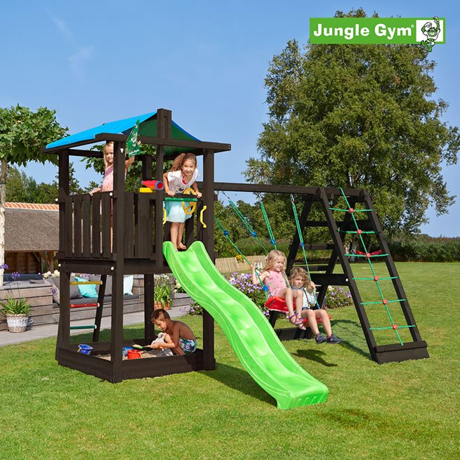 Jungle Gym Hut lektorn ink. grön rutschkana, Klätterställning