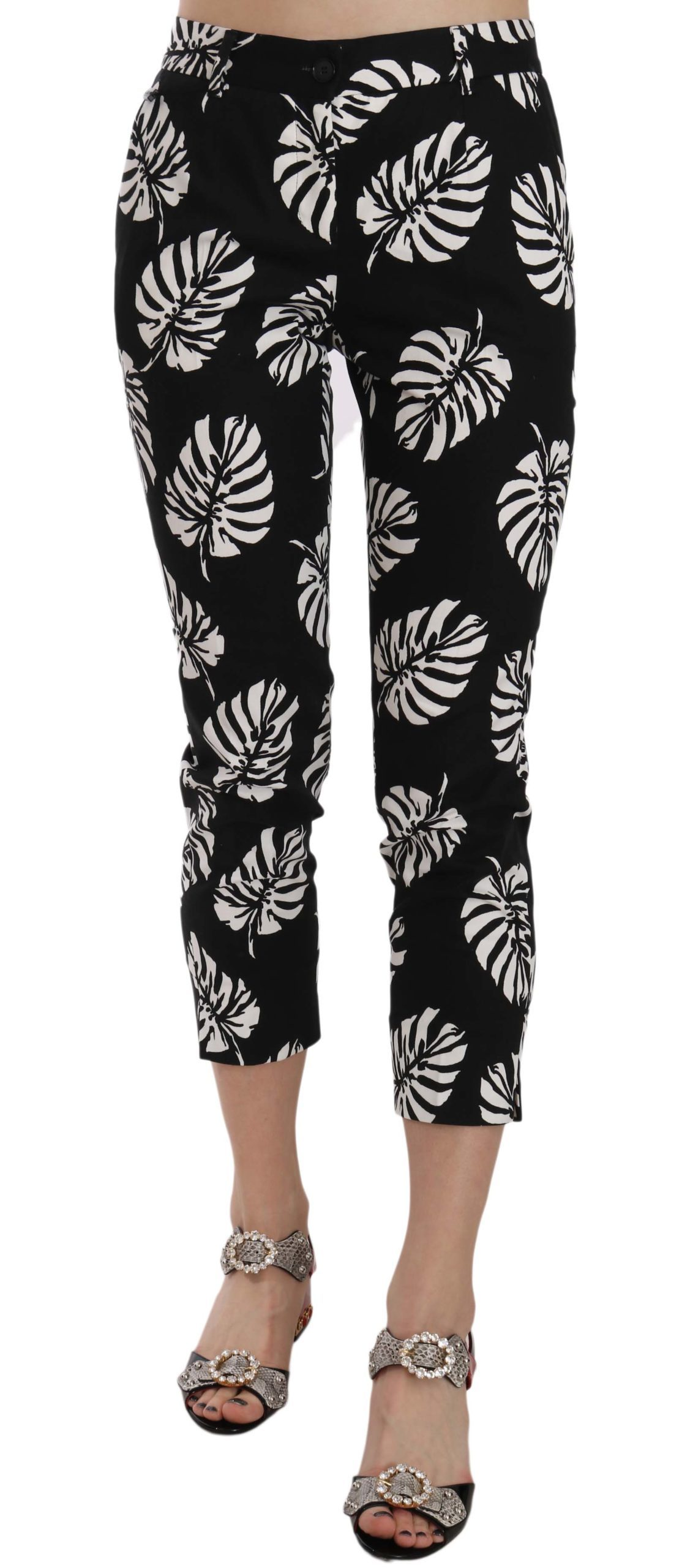 Dolce & Gabbana Women's Palm Leaf Print Skinny Trouser Black PAN70046 - IT36|XXS