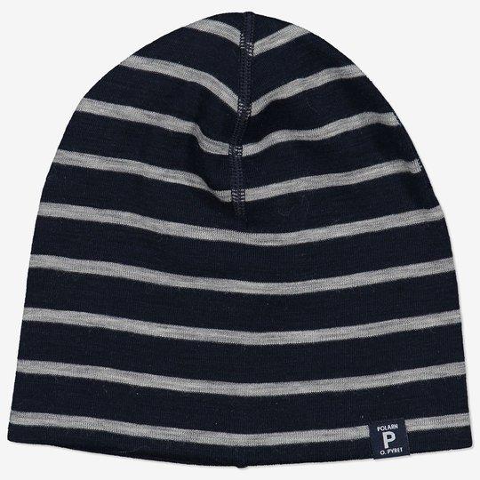 Merinoull stripet lue baby mørkblå