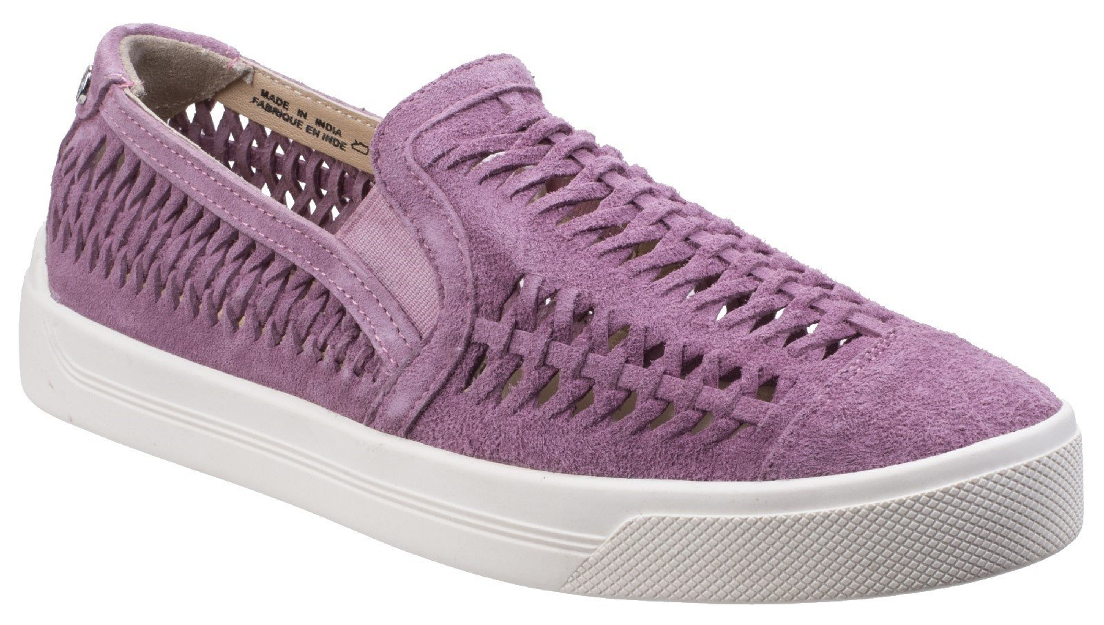 Hush Puppies Women's Gabbie Woven Slip On Trainer Various Colours 26368 - Orchid Suede 3