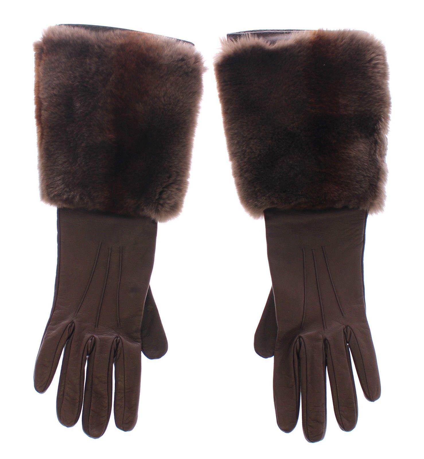 Dolce & Gabbana Women's Rabbit Fur Lambskin Leather Gloves Silk MOM11433 - 7 | S