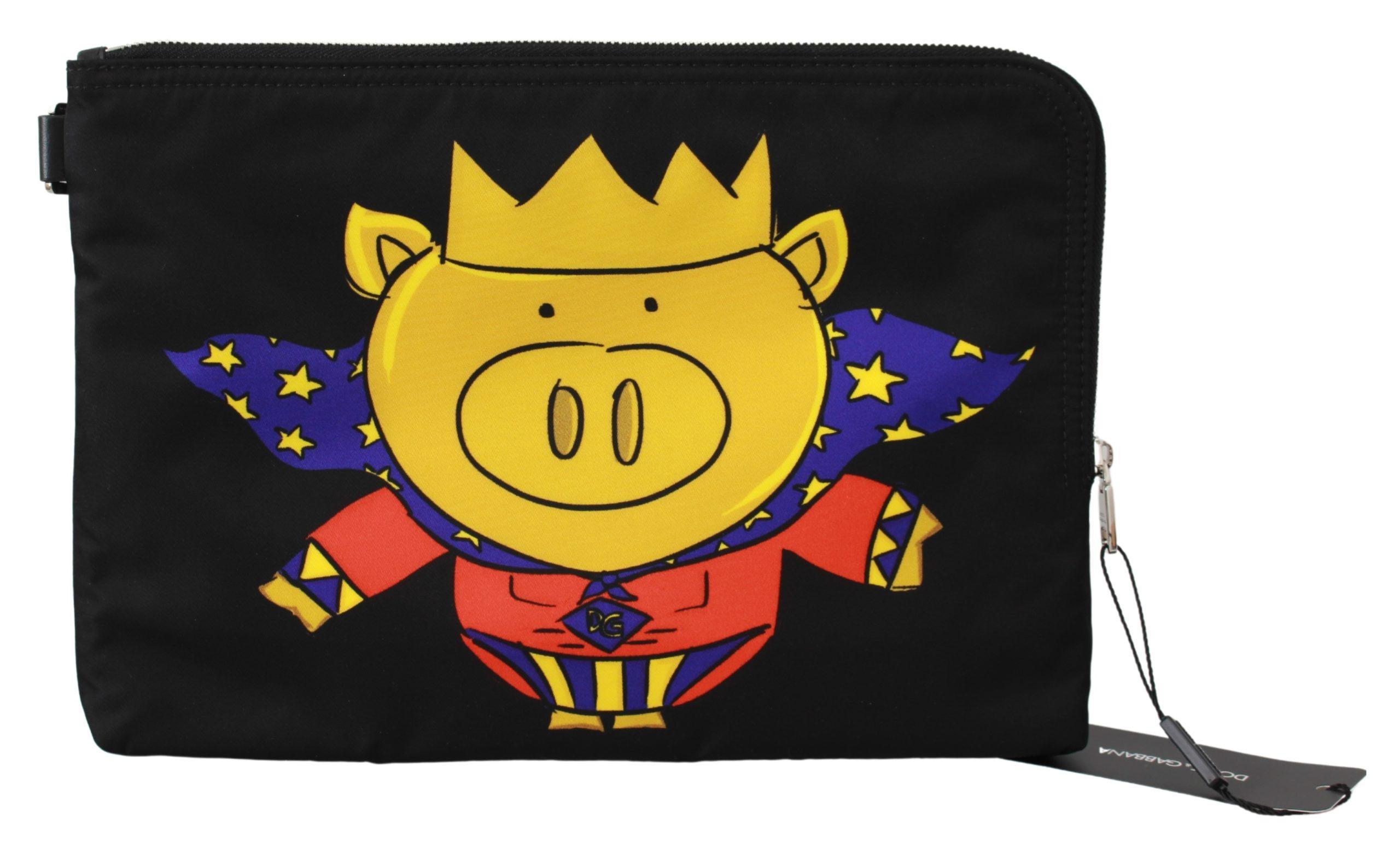 Dolce & Gabbana Men's Super Pig Print Hand Messenger Bag Black VAS9494