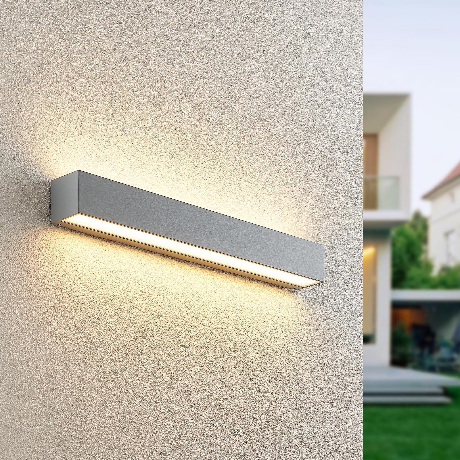 Lucande Lengo-LED-seinävalo 50cm hopea 2 lamppua