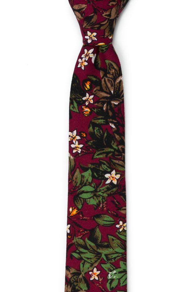 Bomull Smale Slips, Hvite blomster og grønne blader på burgunder, Rød, Blomster