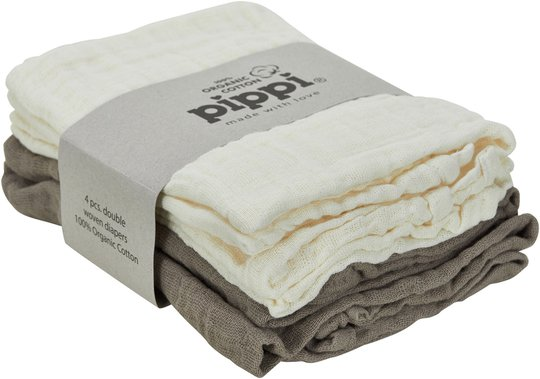 Pippi Organic Musselinteppe 4-pack, Cinder