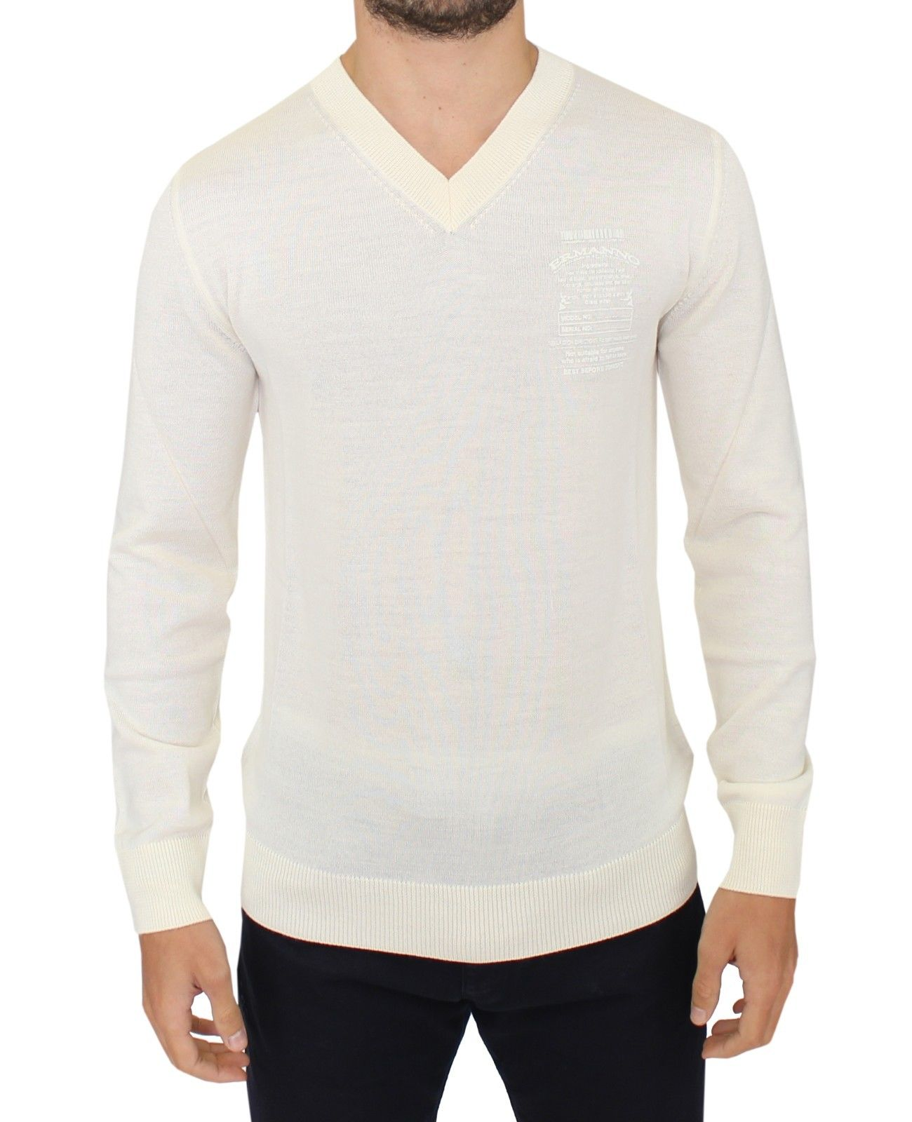 Ermanno Scervino Men's V-Neck Sweater White SIG10336 - IT58   XXL