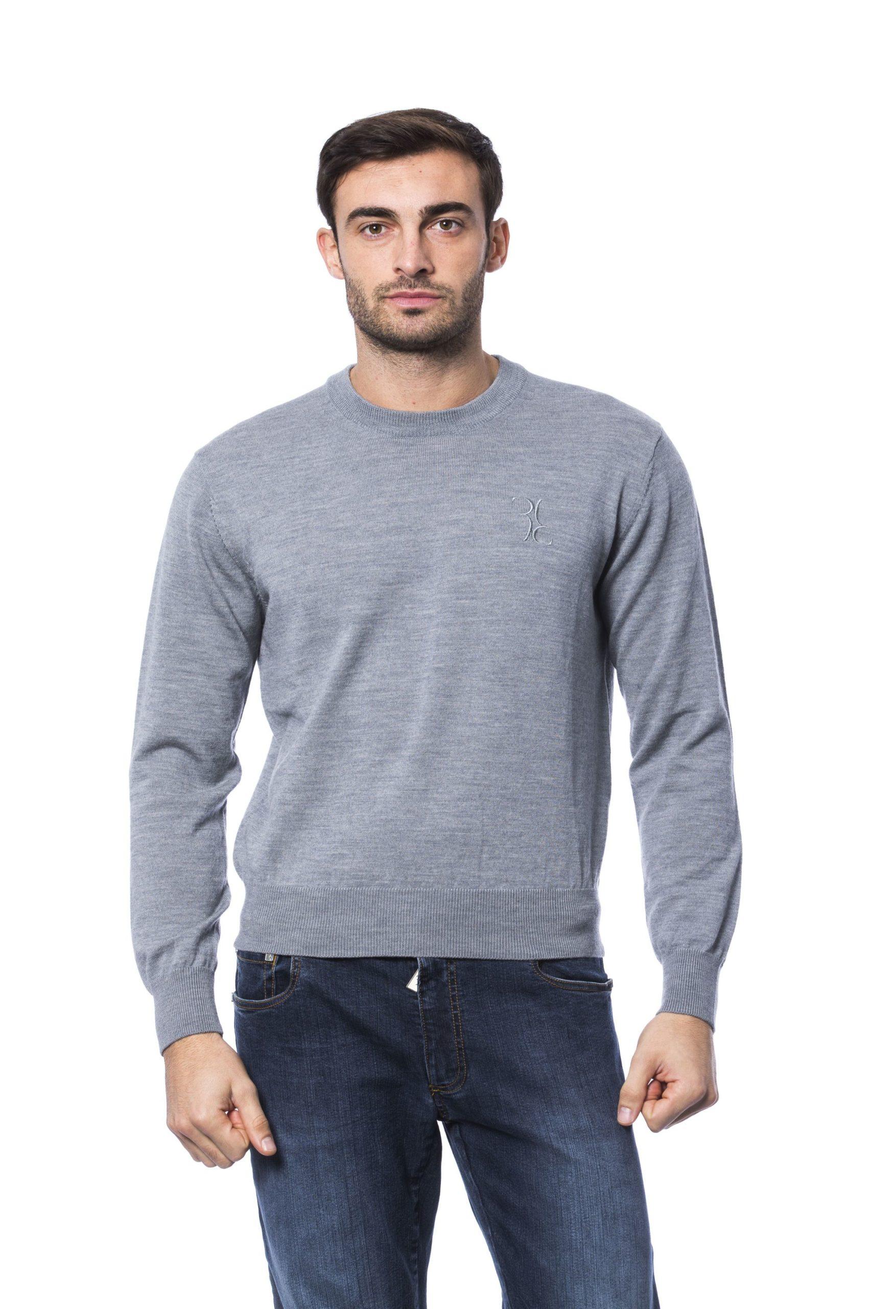 Billionaire Italian Couture Men's Sweater Grey BI816876 - 4XL