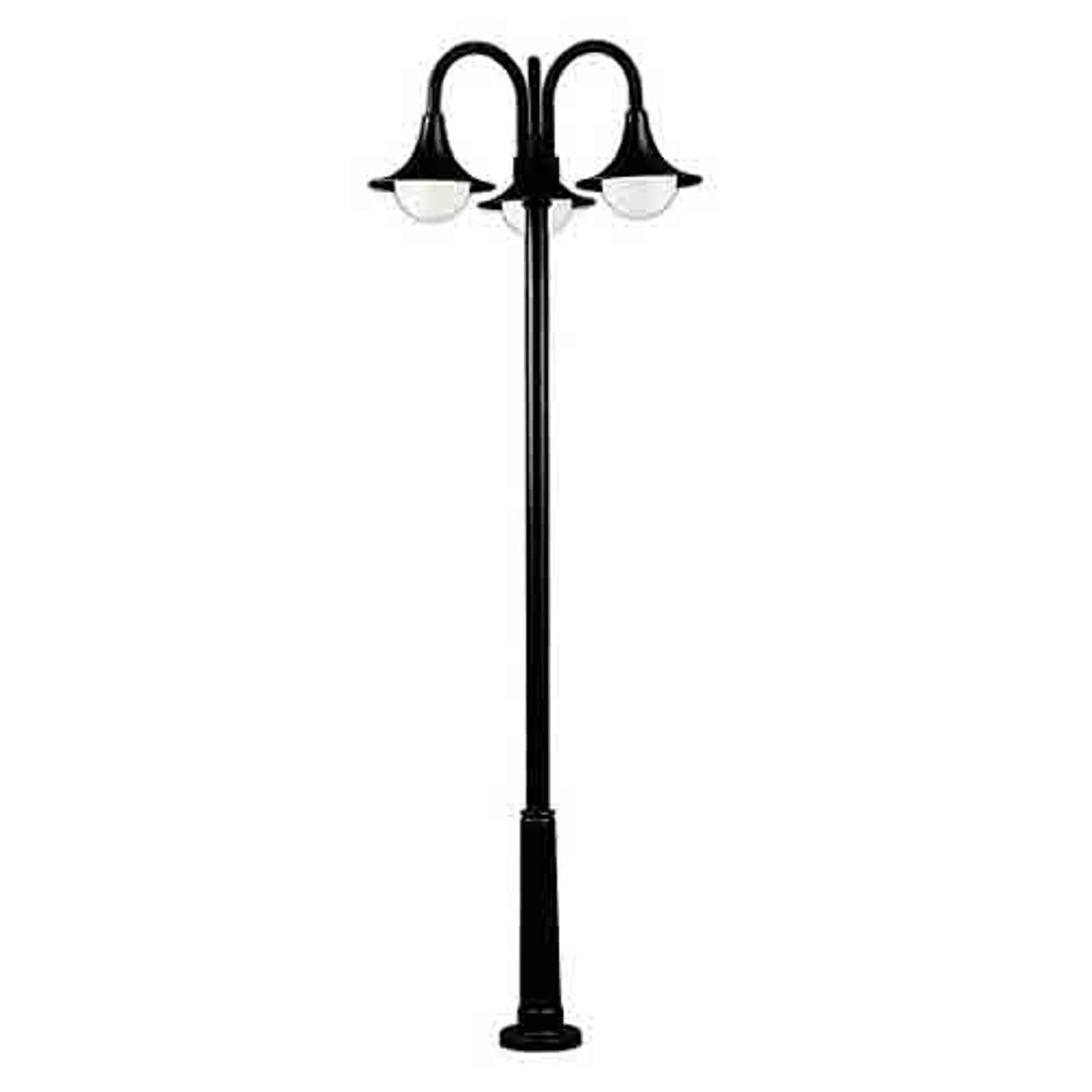 Kaunis lyhtypylväs 171, musta, 3-lamppuinen