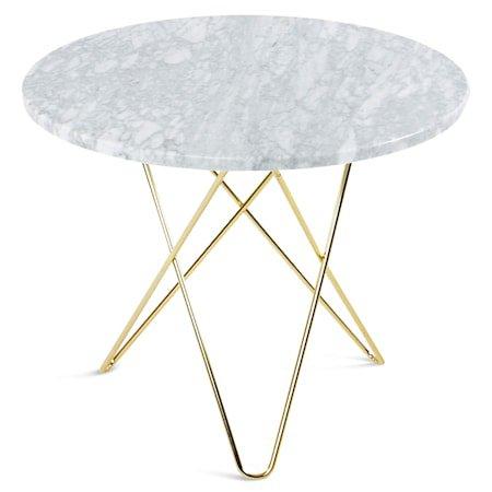 O Table Spisebord Messing/Matt Hvit Marmor Ø80