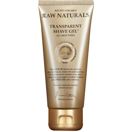 Transparent Shaving Gel, 100 ml Raw Naturals by Recipe for Men Parranajotuotteet
