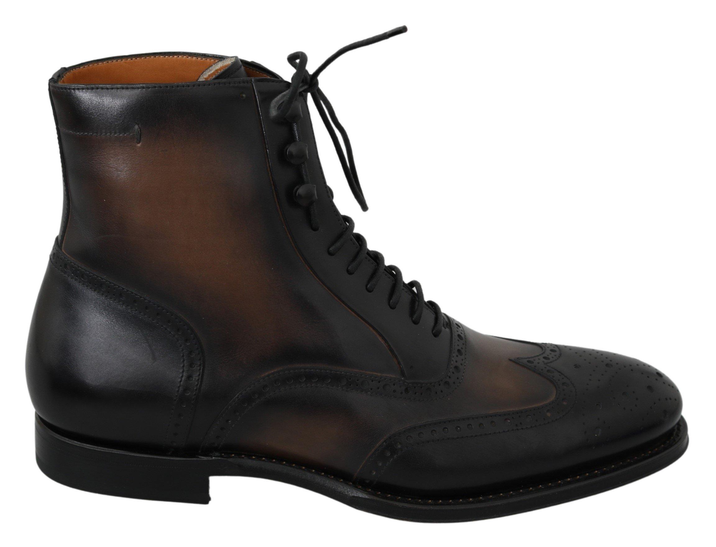 Dolce & Gabbana Men's Leather Lace Boot Black MV2851 - EU42/US9