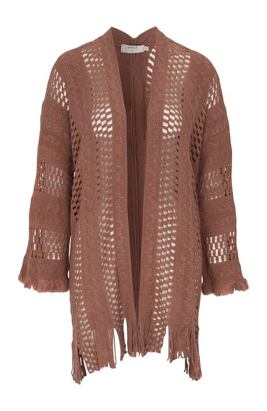 Cream Stickad cardigan med hålmönster Hava Rostbrun