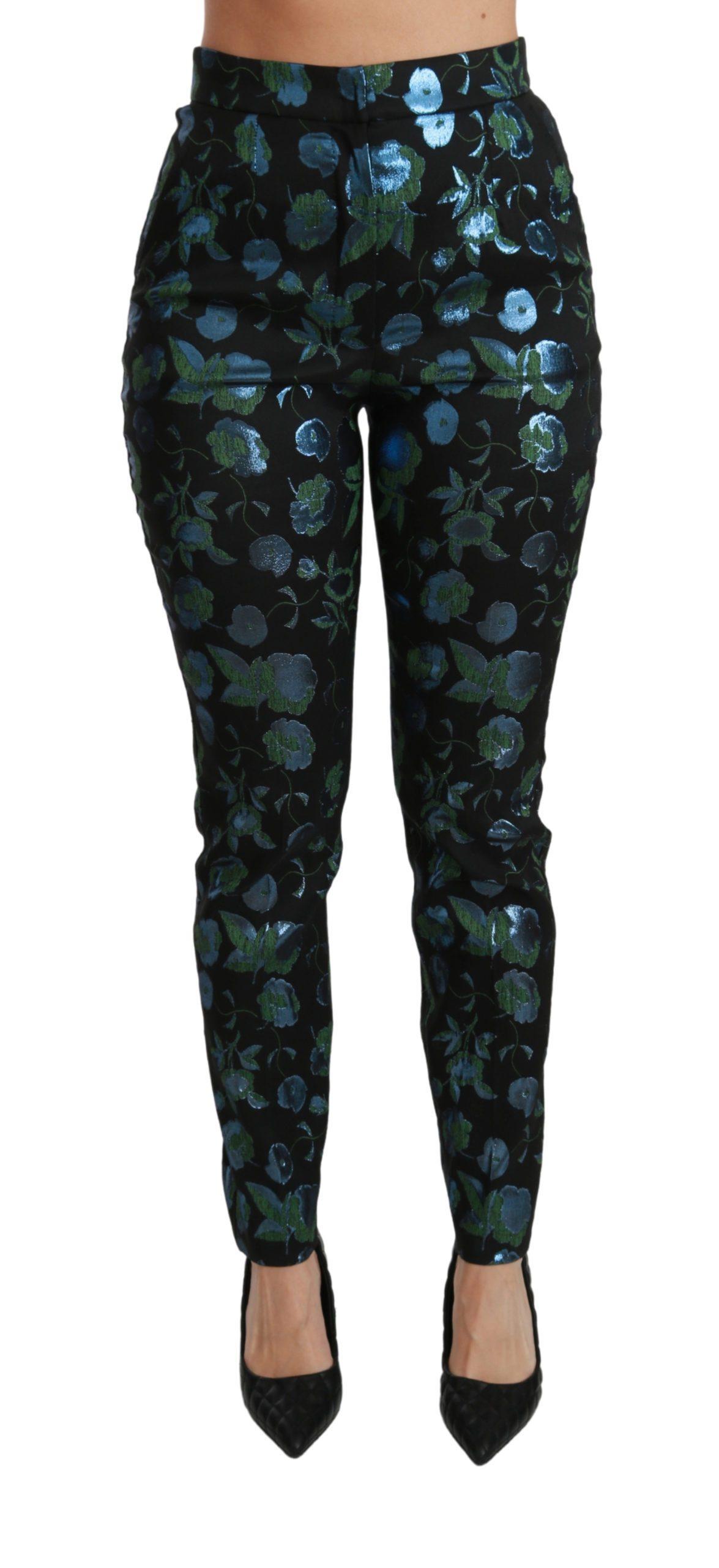 Dolce & Gabbana Women's Floral Metallic Slim Trouser Black PAN70829 - IT40|S