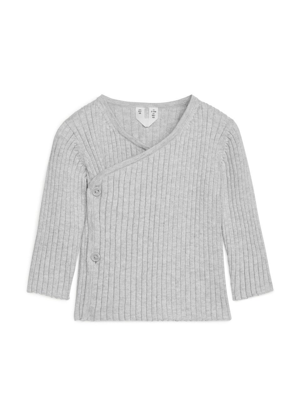 Cotton Wool Wrap Cardigan - Grey