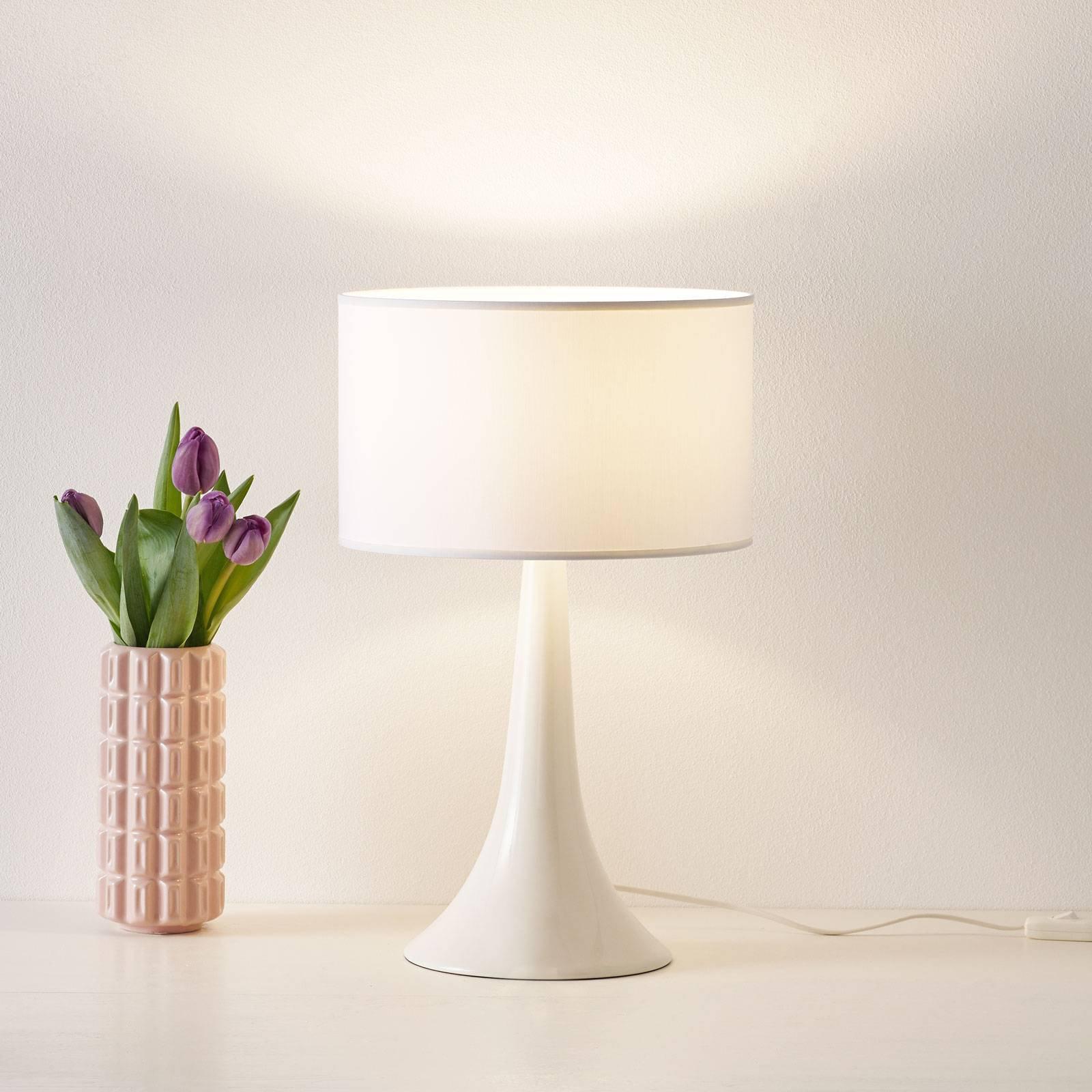 Tekstil-bordlampe L1810 med keramisk fot, hvit