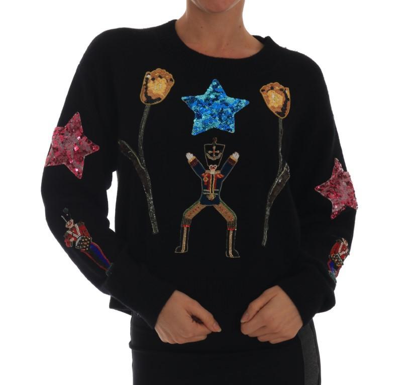 Dolce & Gabbana Women's Fairy Tale Crystal Cashmere Sweater Black TSH1904 - IT46 XL