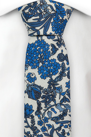 Bomull Smale Slips, Hvit base med blå blomster, Blå, Blomstrete