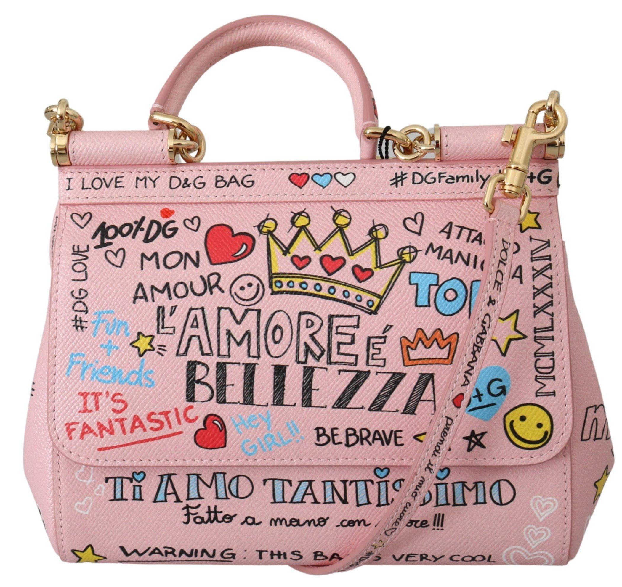 Dolce & Gabbana Women's Amore SICILY Shoulder Bag Pink VAS9955