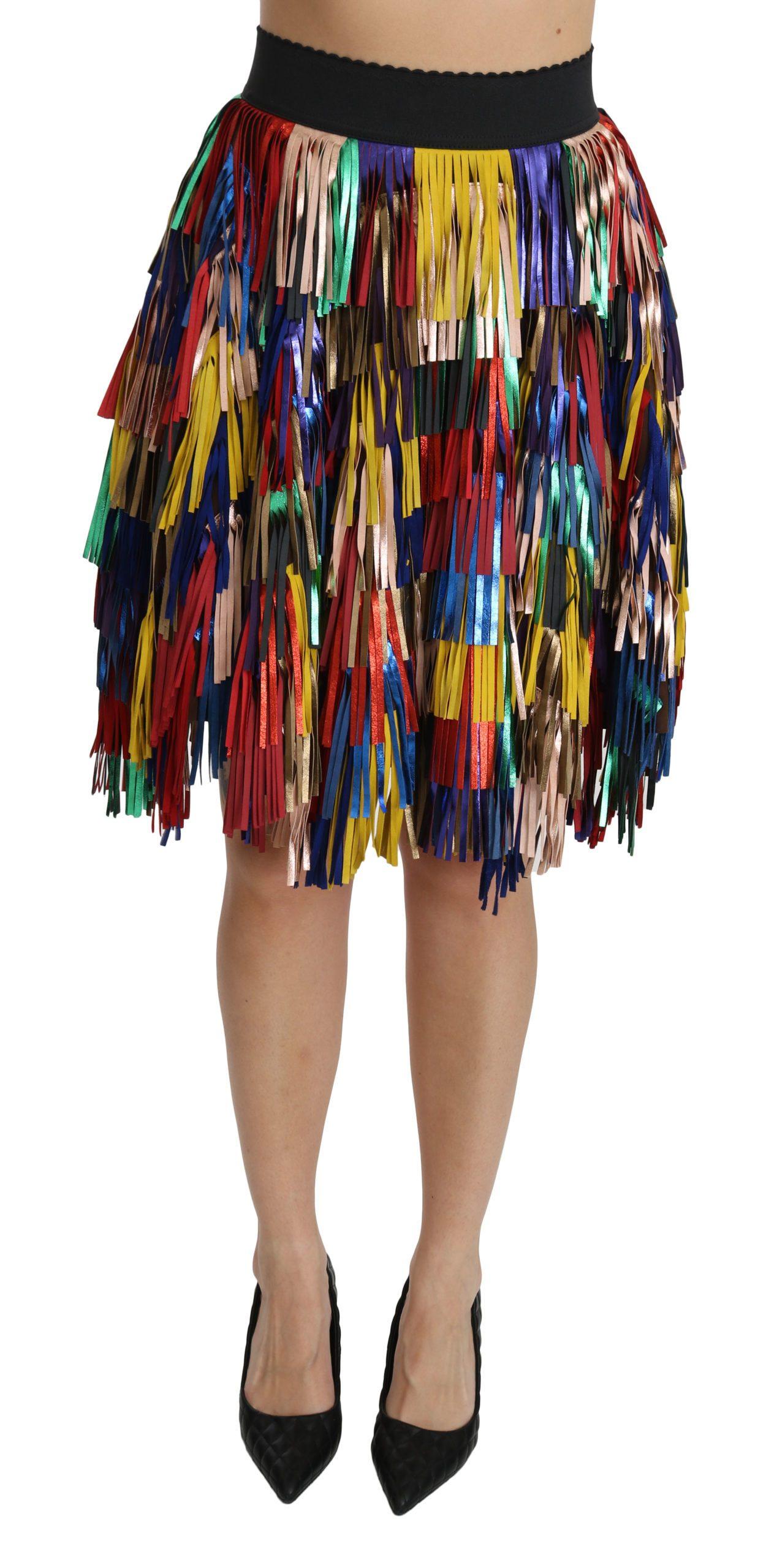 Dolce & Gabbana Women's High Waist Knee Length Leather Skirt Multicolor SKI1355 - IT40|S