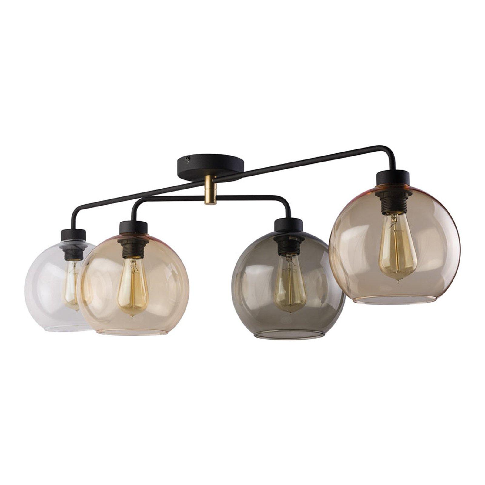 Taklampe Cubus 4 lyskilder klar/bernstein/grå