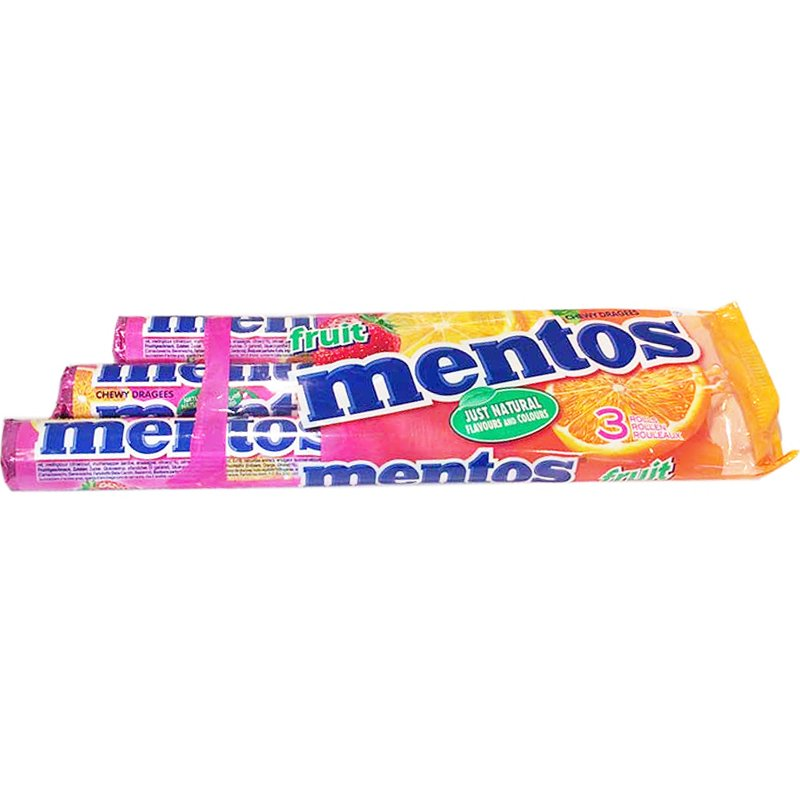 "Mentos ""Fruit"" 3 x 45 g - 29% alennus"