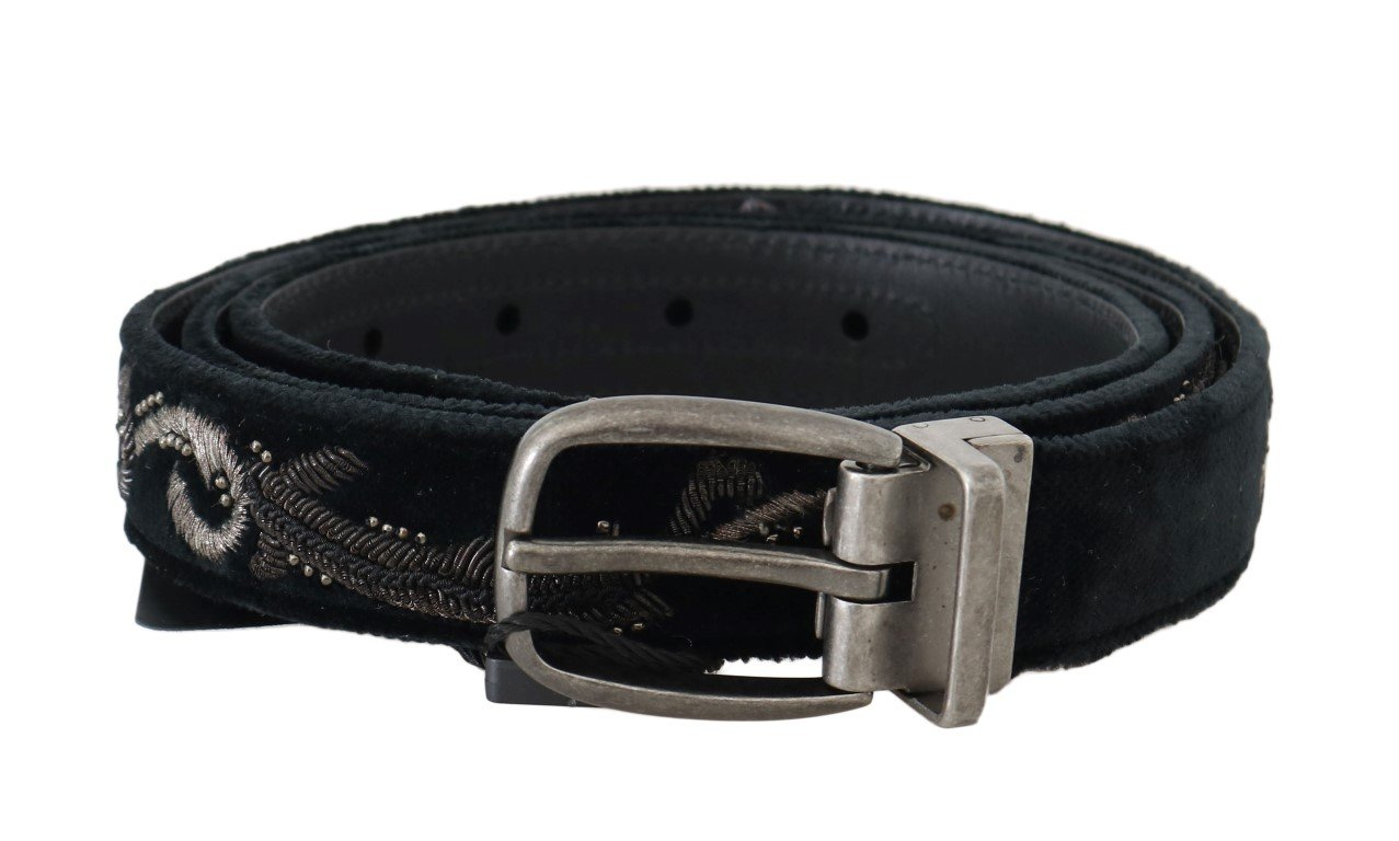 Dolce & Gabbana Men's Cotton Royal Bee Embroidery Belt Black BEL50052 - 100 cm / 40 Inches
