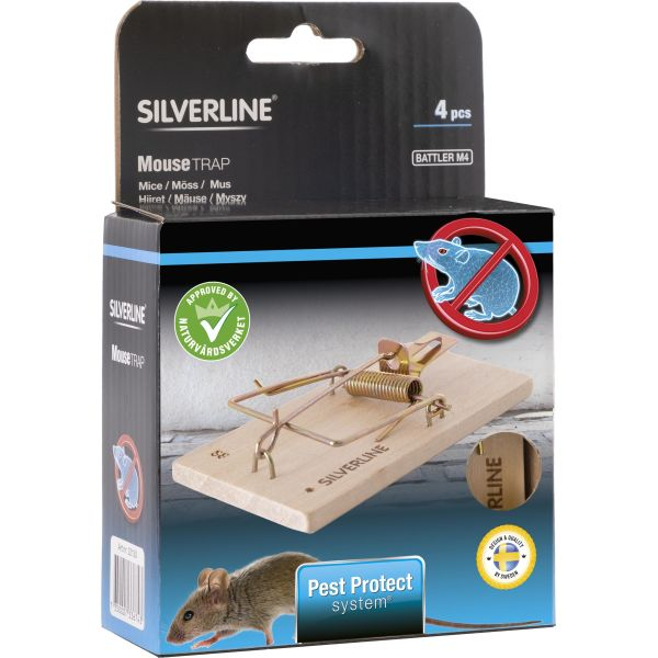 Silverline Battler M4 Hiirenloukku puulle, 4 kpl