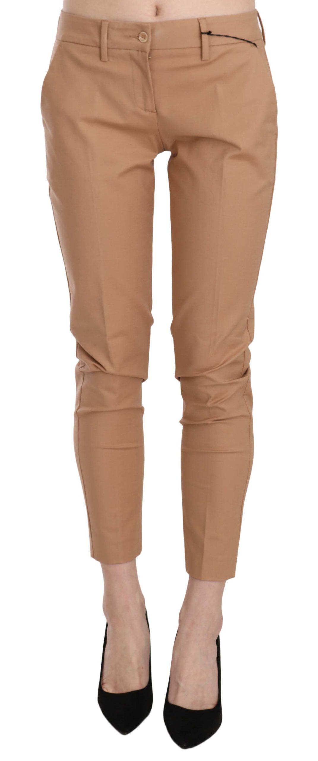 Just Cavalli Women's Mid Waist Cotton Skinny Trouser Beige PAN70357 - IT40 S