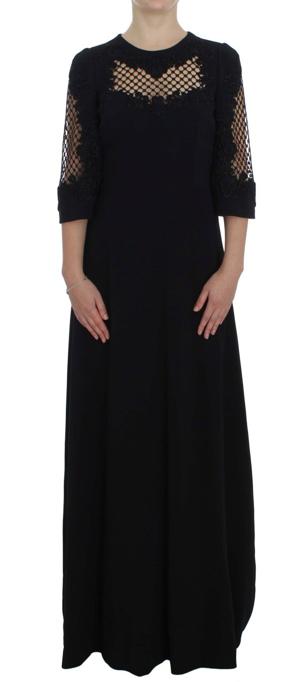 Dolce & Gabbana Women's Ricamo Wool Stretch Dress Black NOC10095 - IT38 XS