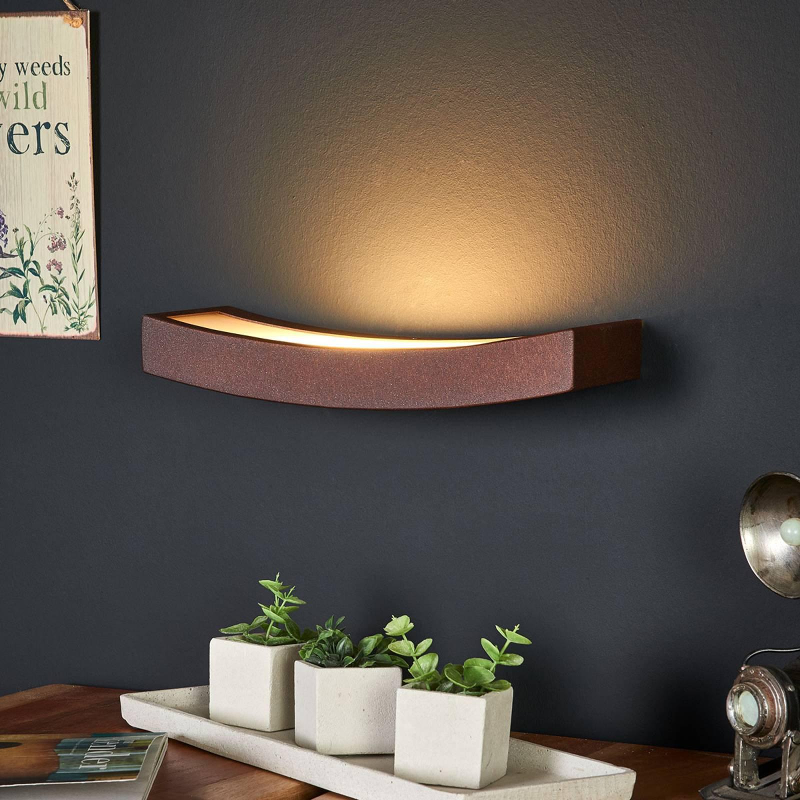 LED-vegglampe i rust-optikk, bredde 30 cm