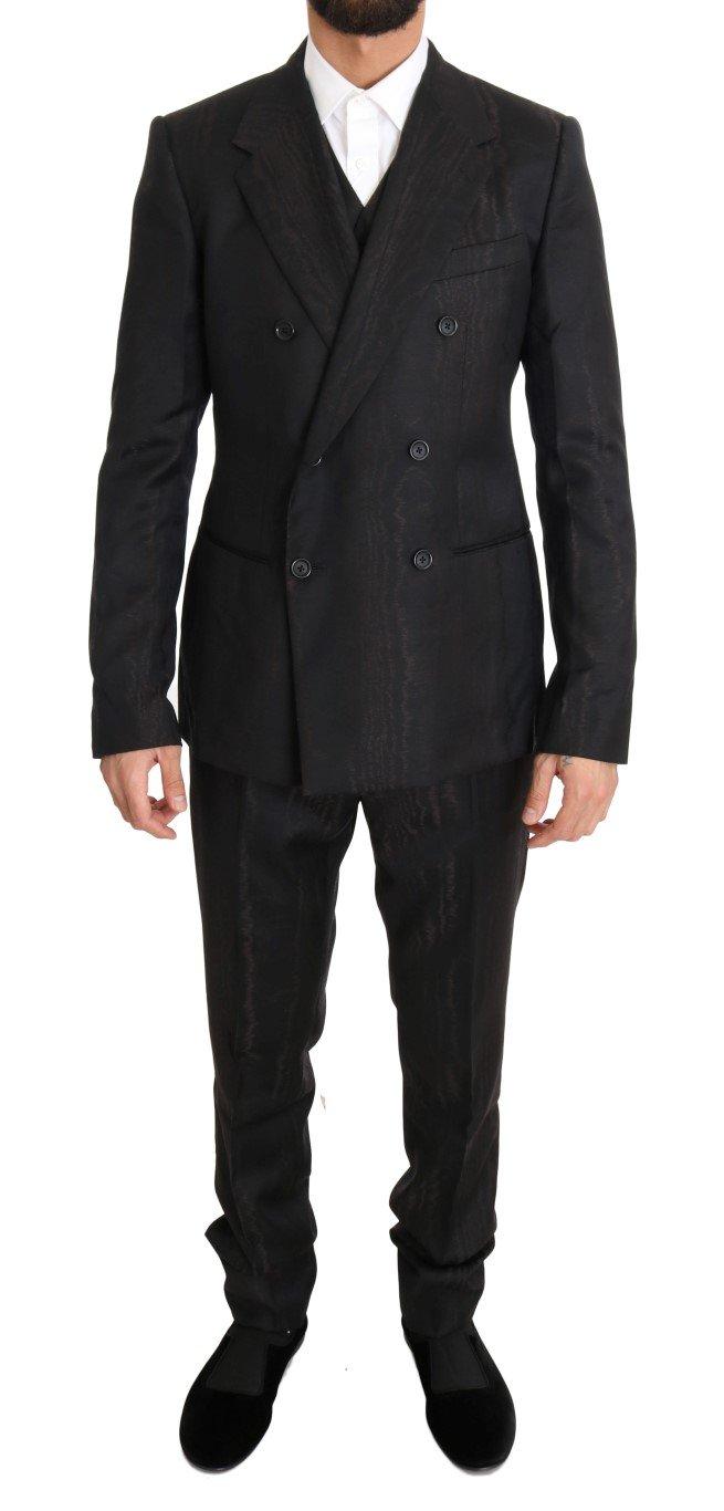 Dolce & Gabbana Men's Wool Double Breasted Slim Fit Suit Brown KOS1103 - IT48 | M