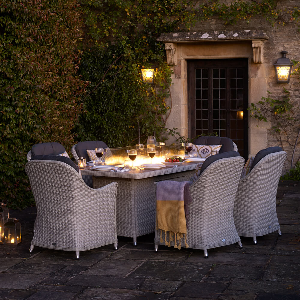 2021 Bramblecrest Monterey 6 Seat Garden Set With Rectangle Fire Pit Dining Table - Dove Grey