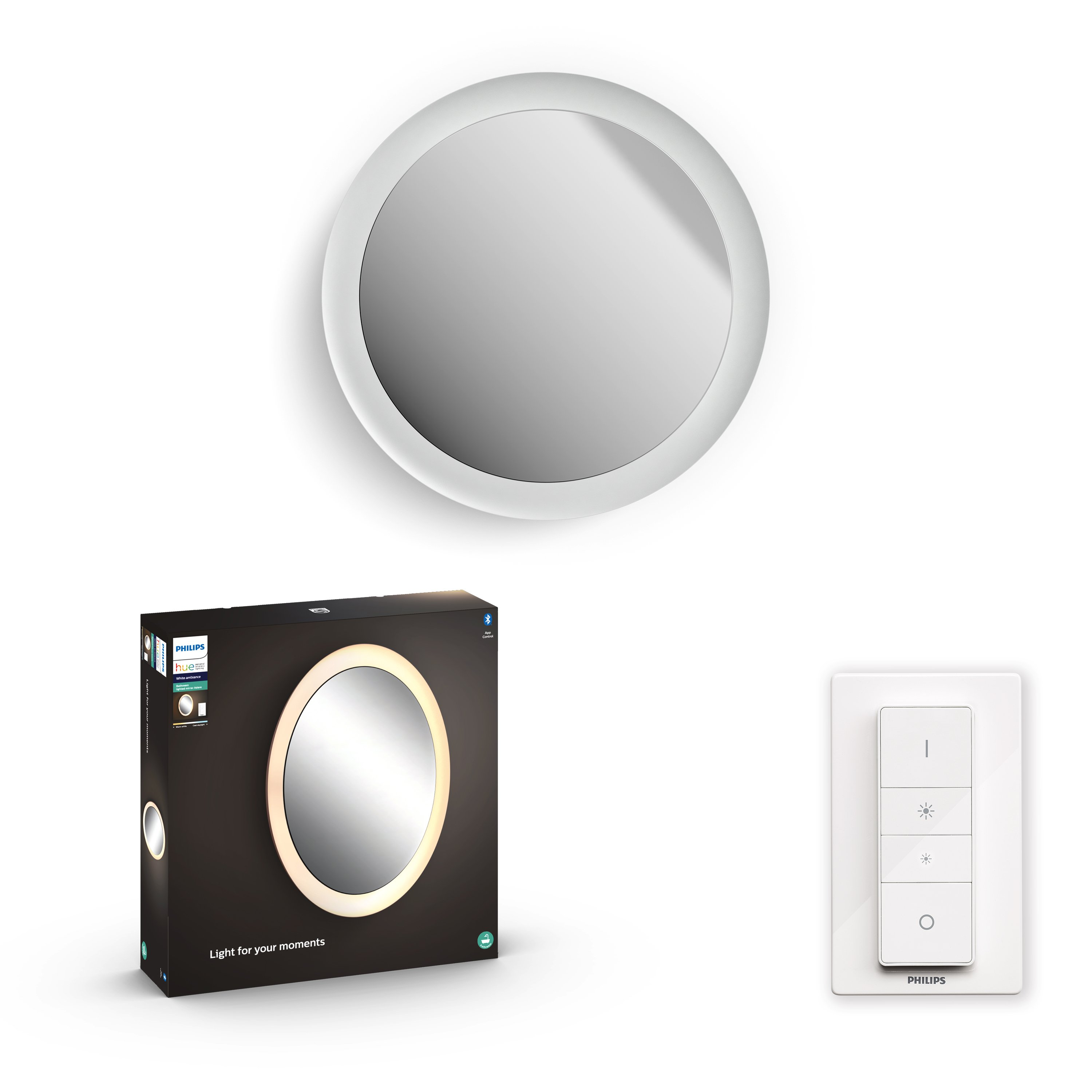 Philips Hue - Adore Hue wall lamp white 1x40W 24V - White Ambiance - Bluetooth Included dimmer switch