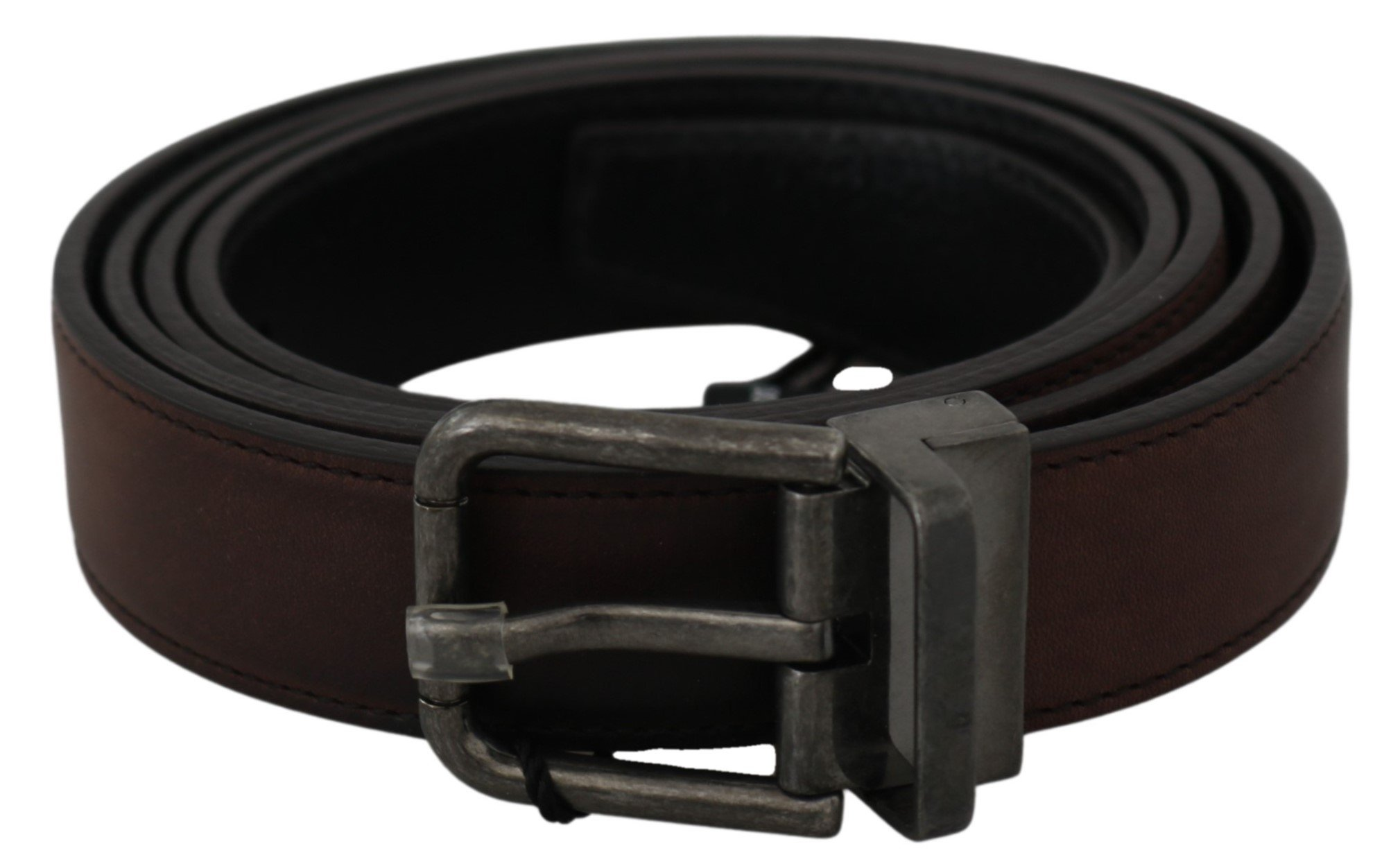 Solid Brown Leather Gray Buckle Belt - 100 cm / 40 Inches